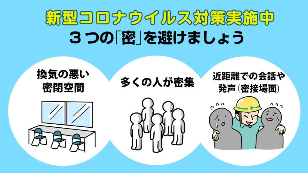 建設現場の新型コロナウイルス対策 -3密禁止-