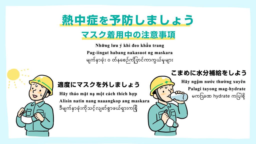 マスク着用時の熱中症予防をしましょう -多言語対応-