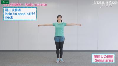 現場のラジオ体操が大人気